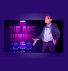 We are hiring cartoon landing page vacant place vector