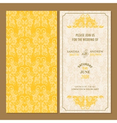 Wedding invitation yellow set vector image