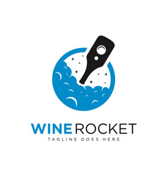 wine bottle rocket logo vector image