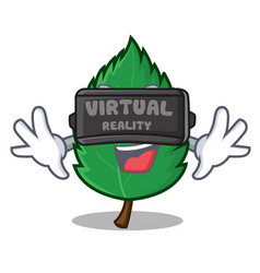 with virtual reality mint leaves mascot cartoon vector image