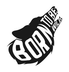 Wolf silhouette with concept text inside on white vector
