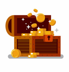 wooden treasure chest full golden coins vector image