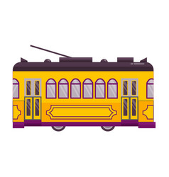yellow retro tram single icon vector image