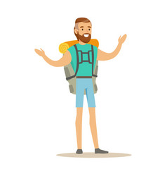 Young man traveler standing with backpack summer vector