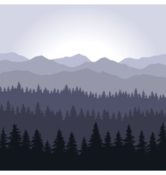 Blue fog coniferous forest and mountains vector