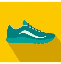 Blue sport shoes icon flat style vector image