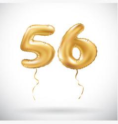golden number 56 fifty six metallic balloon party vector image vector image