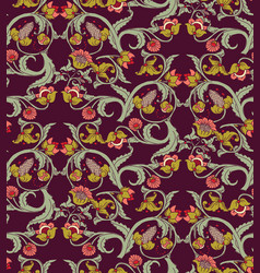 old slavic vintage ornament flowers dark seamless vector image vector image