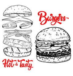 set of hand drawn burgers design elements for vector image vector image