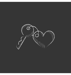 Trinket for keys as heart Drawn in chalk icon vector image vector image