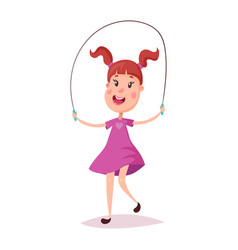 young happy girl jumping with skipping rope vector image