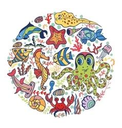 Cartoon Funny Sea Lifefish circle background vector image