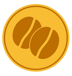 Coffee beans gold coin vector