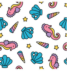 cute rainbow pastel seahorse sea seamless pattern vector image