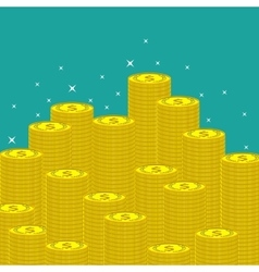 Flat money making background with coins vector image