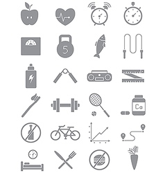 Gray healthy lifestyle icons set vector image