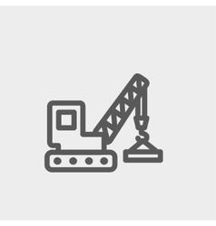 Lifting crane trailer thin line icon vector image