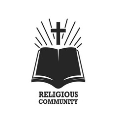 religious community holy bible icon with the cross vector image vector image