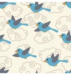 Seamless pattern with cute cartoon birds in the vector image vector image