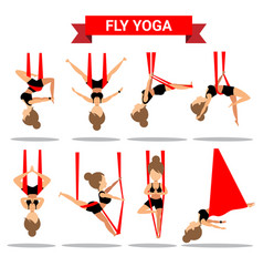 set of fly yoga positions design vector image vector image