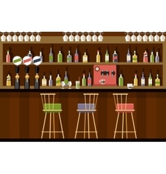 Bar interior in flat style design vector image