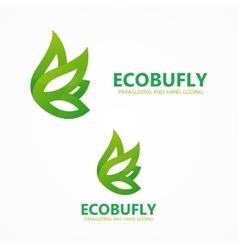 Green eco butterfly logo or icon vector image vector image