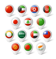 Map pointers with flags Asia vector image vector image