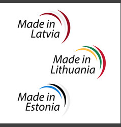 simple logos made in latvia made in lithuania and vector image vector image