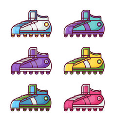 sport shoes and football boots icons vector image