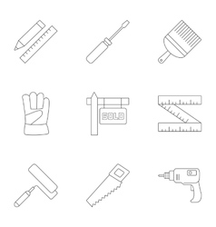 Tools icons set outline style vector image vector image