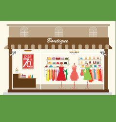 clothing store building and interior with vector image