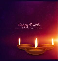 diwali festival diya in glowing light background vector image vector image