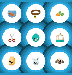 flat icon pets set of puppy sparrow fishbowl and vector image vector image