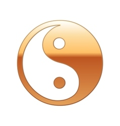 Gold Yin Yang symbol icon on white background vector image vector image