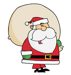 kris kringle carrying a toy sack vector image vector image