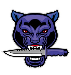 Panther head bite a military blade vector