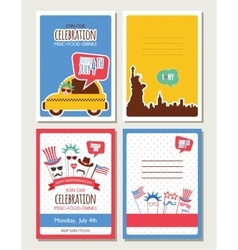 set of cards and invitations for 4th of July vector image