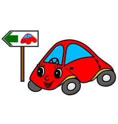 Toy car on green way vector image vector image