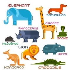 Wild and domestic animals cartoon flat icons vector image