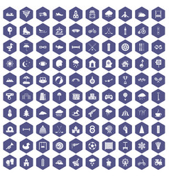 100 kids games icons hexagon purple vector
