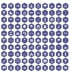 100 kids games icons hexagon purple vector