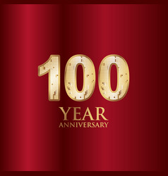 100 year anniversary gold with red background vector