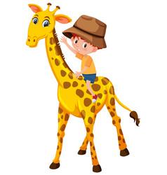 A boy riding giraffe vector