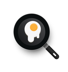 a realistic frying pan scrambled eggs vector image