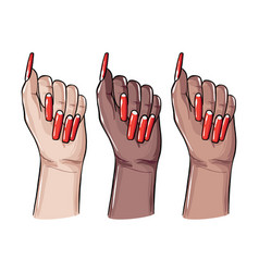 Acrylic coffin nails fake false gel manicure art vector