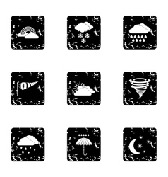 Air temperature icons set grunge style vector