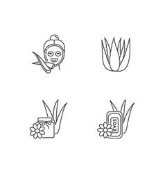 Aloe vera pixel perfect linear icons set female vector