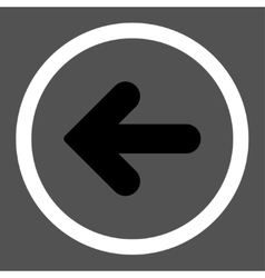 Arrow Left flat black and white colors rounded vector