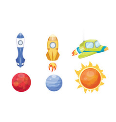Astronomy space rocket cartoon set vector