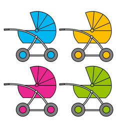 Baby carriage multi-colored variants isolated vector